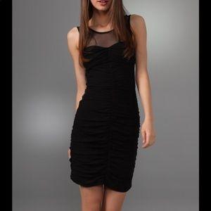 Club Monaco black silk Chiffon Ruched Dress